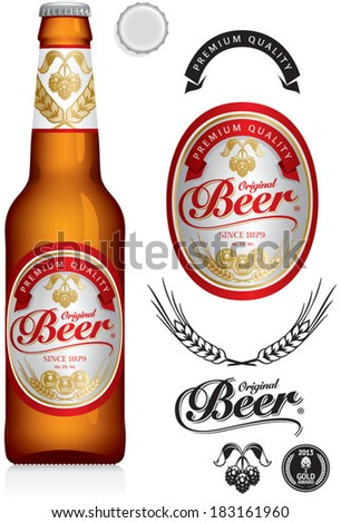 Beer Label and neck label on green brown bottle 330 ml - vector visual, ideal for beer, lager, ale, stout etc. Drawn with mesh tool. Fully adjustable & scalable. - stock vector