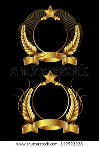 Beer label, golden emblem and golden ribbon - stock vector