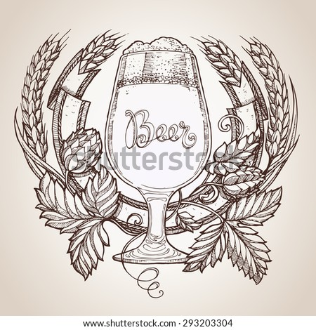 beer label ink drawing - stock vector