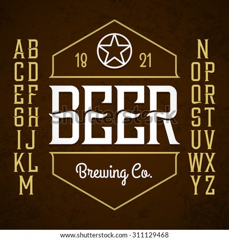 Beer label style font with sample design. Vector. - stock vector