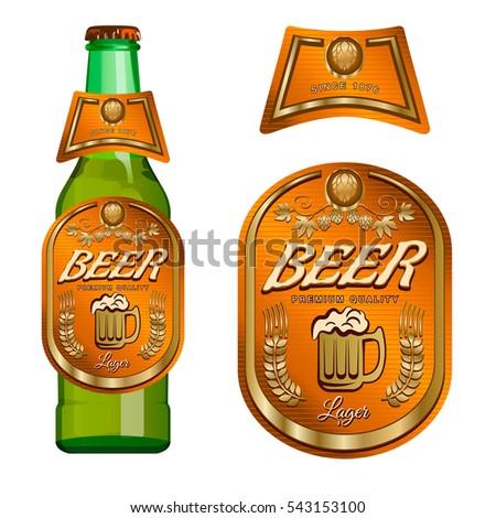 Beer Label Template Neck Label Vector Stock Vector - Beer bottle label template