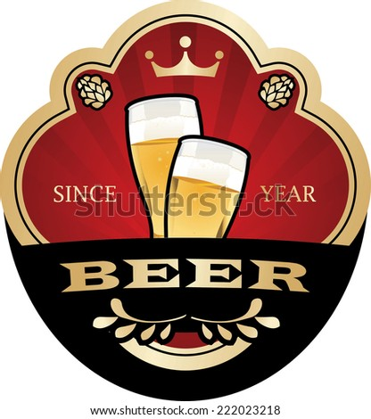 Beer label vector - stock vector