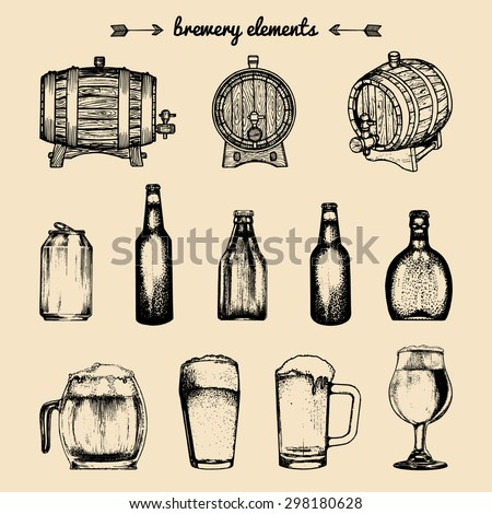 Beer labels. Brewery sketch. Beer bar. Brewery background. Craft beer. Beer  illustration. Vector set of vintage brewery elements. Retro collection with beer elements. Brewery signs. Beer icons set. - stock vector