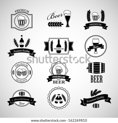 Beer Labels Set - Isolated On Background - Vector Illustration, Graphic Design Editable For Your Design  - stock vector