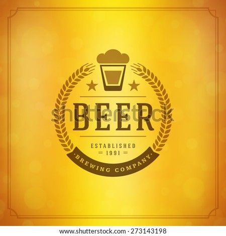 Beer Logo Design Element in Vintage Style for Logotype, Label, Badge and other design. Brewery retro vector illustration. - stock vector