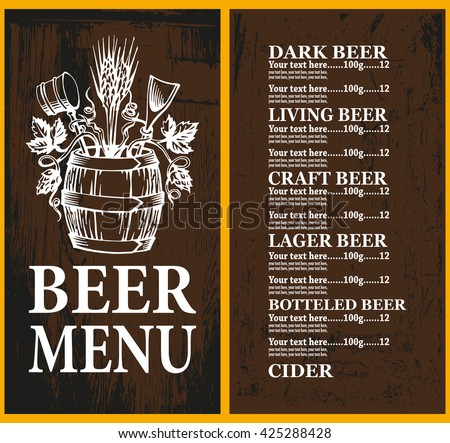 Beer menu on wood background with beer tun. Beer menu design contains images of  beer tun,hop and wheat on dark  wood background, text and place for price.