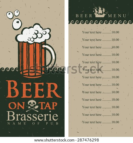 beer menu with price list in pirate style - stock vector
