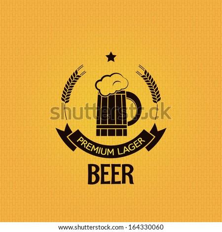 beer mug barley design background - stock vector