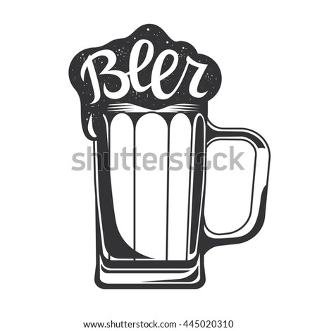 Beer mug. Beer icon. Vector illustration isolated on white background.