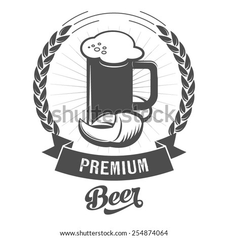 Beer mug sign scalable vector illustration. Logo and insignia design. - stock vector