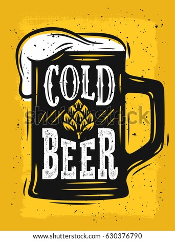 Beer Mug Vector on yellow with text