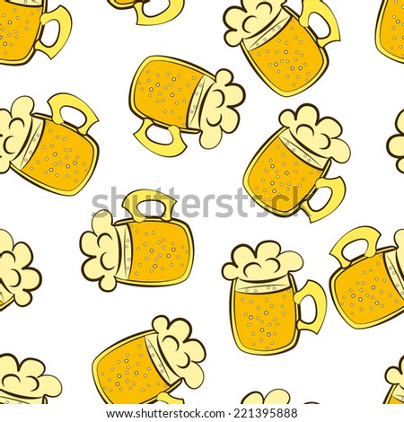 beer mug vector seamless pattern illustration clip art - stock vector