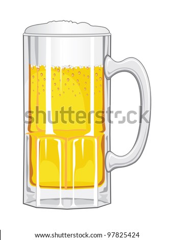Beer Mug with Beer is an illustration of a glass mug of beer foaming and sparkling.