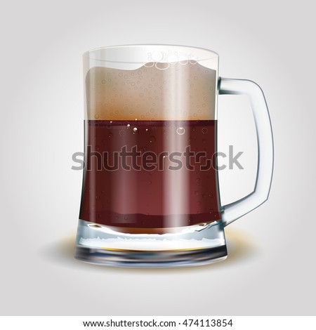 Beer mug with dark beer isolated on white, photo-realistic vector illustration. EPS 10
