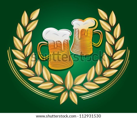 Beer mugs in golden laurel wreath - stock vector