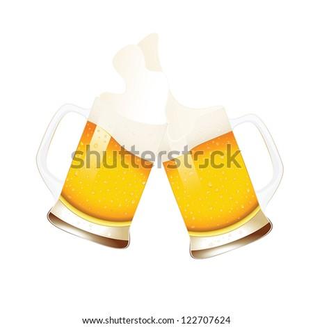 Beer mugs with splashing foam isolated on white - stock vector