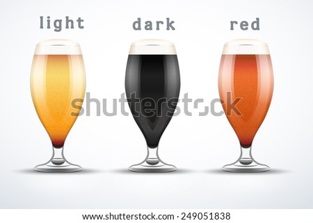 Beer mugs with three kind of beers. Lager, Porter and Ale. Vector Illustration isolated on white background. - stock vector
