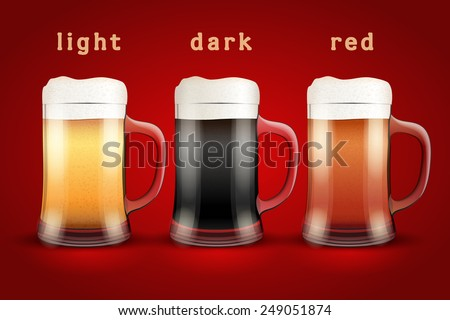 Beer mugs with three kind of beers. Lager, Porter and Ale. Vector Illustration isolated on white background.