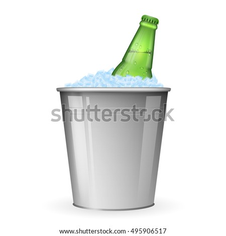Beer on ice in metal bucket isolated on white vector. Bottle beer in ice, beverage beer in bucket with ice illustration
