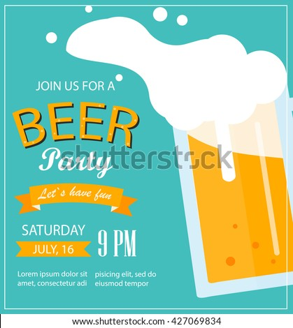 Beer party poster. Beer party flyer. Beer party template, Beer party layout. Beer party. Beer party vector. Beer fest. Beer party invitation. Beer party flat. Beer party design. Beer party eps.  - stock vector