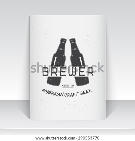 Beer pub. Brewing old school of vintage label. Sheet of white paper. Monochrome typographic labels, stickers, logos and badges. Flat vector illustration - stock vector