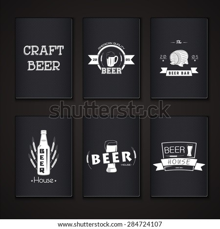 Beer pub set. Brewing typographic labels, logos and badges. Flat vector illustration