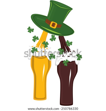 Beer raining from hat in glass for st. patricks day - stock vector