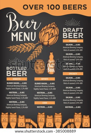 Beer Restaurant Brochure Vector Alcohol Menu Stock Vector