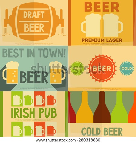 Beer Retro Mini Posters Collection in Flat Design Style. Layered file. Vector Illustration. - stock vector