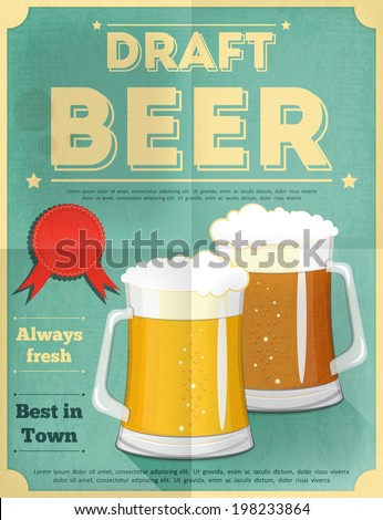 Beer Retro Poster Vintage Design Style. Vector Illustration. - stock vector