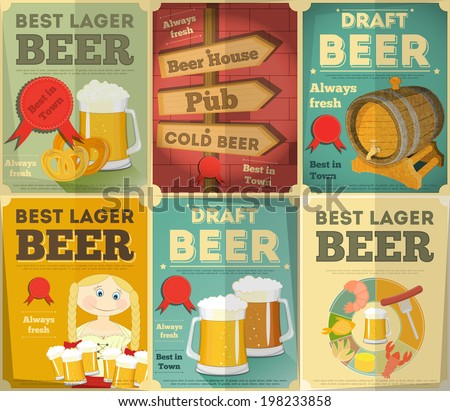 Beer Retro Posters Collection in Vintage Design Style. Vector Illustration. - stock vector