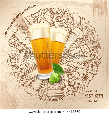 Beer round design in Outline Hand Drawn Doodle Style with Different Objects on Beer Theme. Beer and Snack. Colorful. All elements are separated and editable.  Vector Illustration.