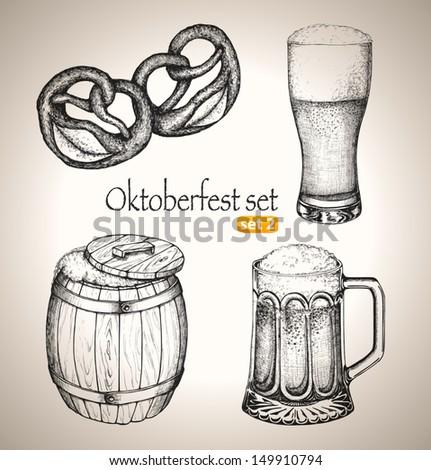 Beer set. Sketch elements for oktoberfest festival. Hand-drawn vector illustration. Set 2 - stock vector