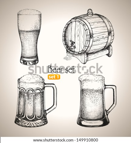 Beer set. Sketch elements for oktoberfest festival. Hand-drawn vector illustration. Set 1