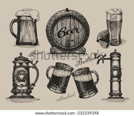 Beer set. Sketch elements for oktoberfest festival. Retro hand-drawn vector illustration - stock vector