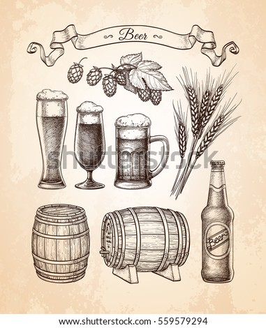 Beer set. Vector illustration of glasses and mug, hops, malt, barrels and bottle. Old paper background.