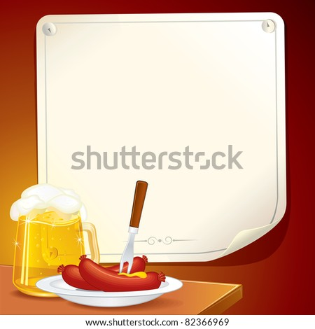 Beer Stein and plate with Grilled Sausages. Illustrated Oktoberfest poster for your text or design. - stock vector