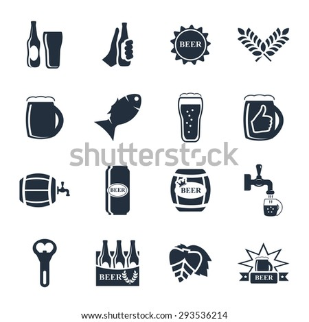 Beer vector icon set - bottle, glass, pint - stock vector
