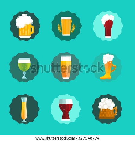 Beer vector icons set. Beer bottle, beer glass and beer label. Beer cups silhouette, beer vector icons, beer isolated. Oktoberfest beer vector set. Beer drink, beer sign, beer pub alcohol. Beer icons - stock vector