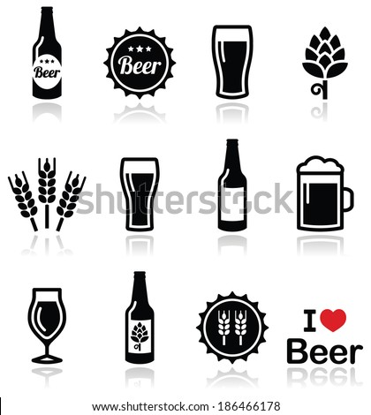 Beer vector icons set - bottle, glass, pint   - stock vector