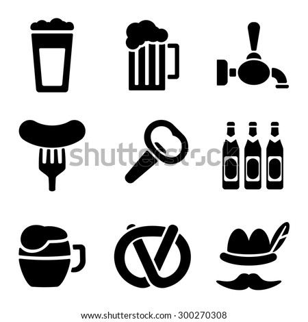 Beer web and mobile logo icons collection isolated on white back. Vector symbols of mug, opener, sausage etc - stock vector