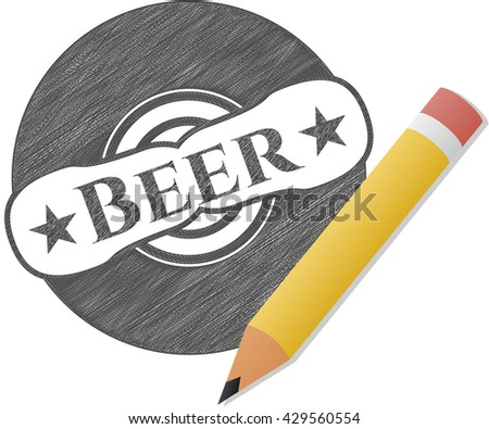 Beer with pencil strokes - stock vector