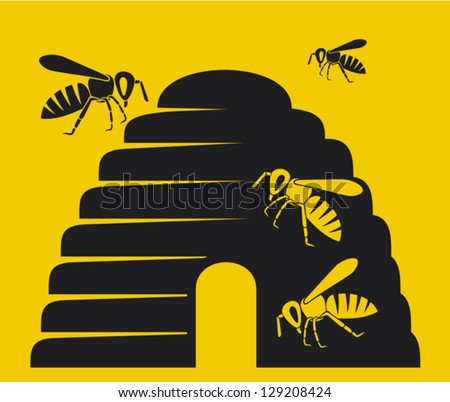 bees and beehive icon (beehive, bee icon, beehive symbol) - stock vector
