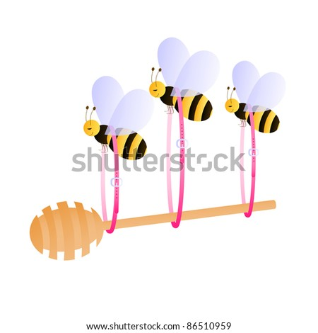 Bees carrying honey dipper hung on three pink belt