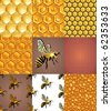 Bees, cells and honey drops backgrounds, seamless pattern set - stock vector