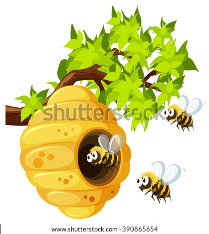 Bees flying around beehive illustration - stock vector