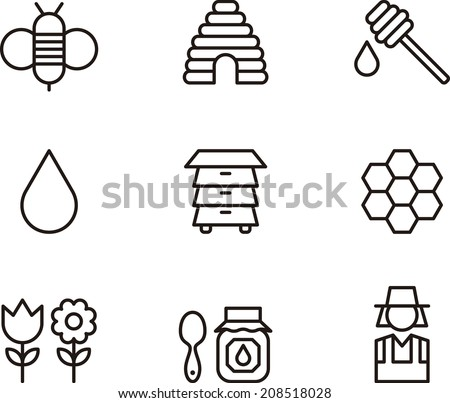 Bees & Honey icons - stock vector