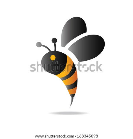 bees icon, black and yellow - stock vector