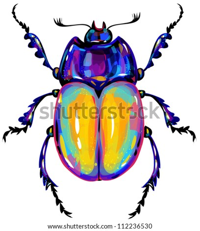beetle seamless pattern - stock vector