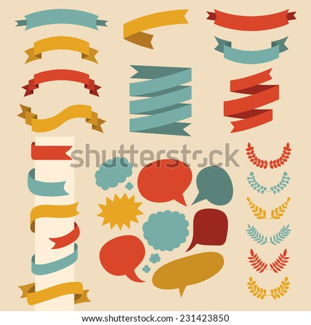 Beg vector set of ribbons, laurels and speech bubbles in  flat style - stock vector